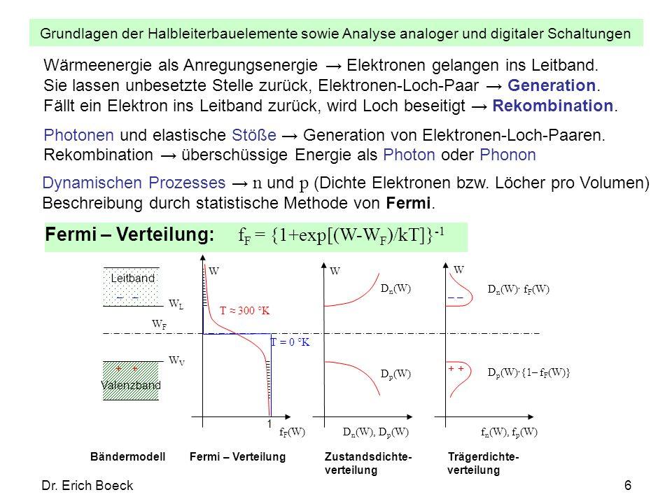 Fermi – Verteilung: fF = {1+exp[(W-WF)/kT]}-1